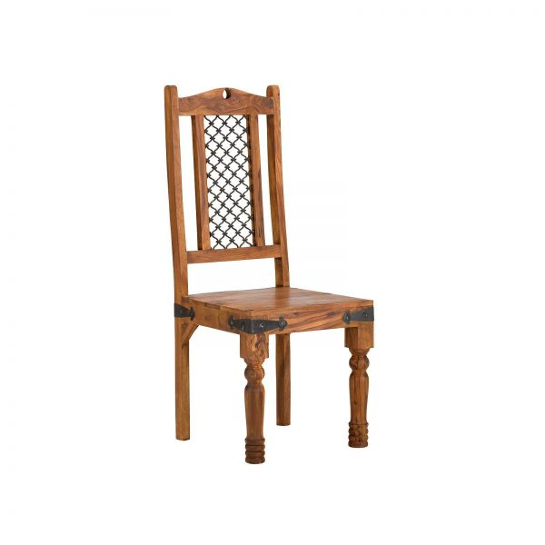 Chair with iron jali in back